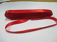 Стрічка атласна  двостороння 1 см. (10 метрів) червона