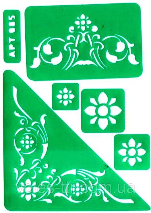 Трафарет АРТ 085 самоклеящийся многоразовый РАСТИТЕЛЬНЫЙ ОРНАМЕНТ УГОЛКИ 14х19,5 см