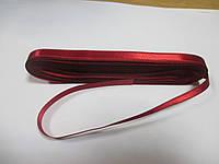 Стрічка атласна  двостороння 1 см. (10 метрів) бордо яскрава Н 53