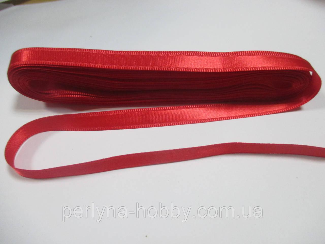 Стрічка атласна  двостороння 1 см ( 10 метрів) червоно-малинова Н 48