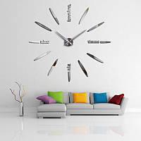 Часы настенные оригинальные ПУЛЯ Зеркальные Серебро