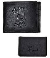 Мужской черный кошелек из натуральной кожи + визитница в подарок Коллекция ZODIAC (ДЕВА) Hawai