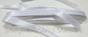 Стрічка атласна  двостороння 1 см. (10 метрів) біла Н-0