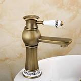 Смеситель кран однорычажный в ванную комнату для умывальника бронза, фото 3