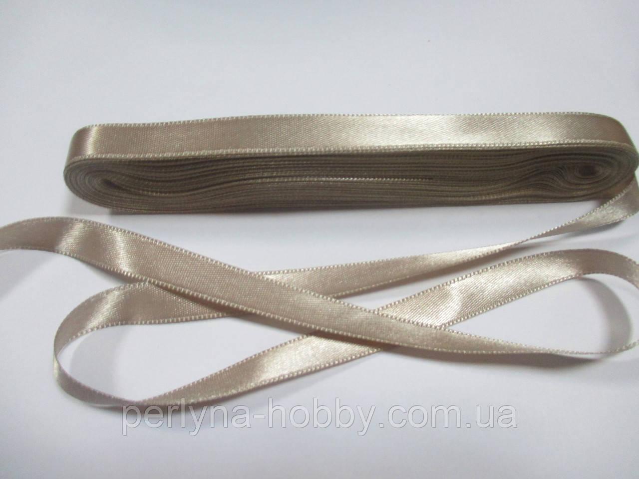 Стрічка атласна  двостороння 1 см. (10 метрів)  бежевий Н-06