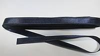Стрічка атласна  двостороння 1 см. (10 метрів) темно-синій Н-98