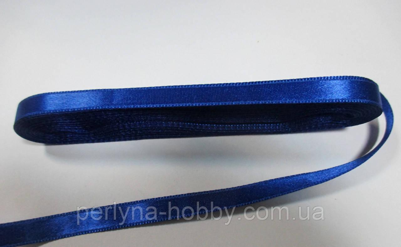 Стрічка атласна  двостороння 1 см. (10 метрів) синій G-131. Лента атласная двухсторонняя