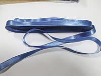 Стрічка атласна  двостороння 1 см. (10 метрів) темно-голуба G-130