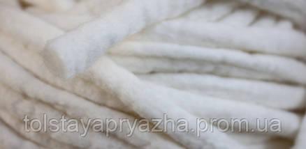 Толстая пряжа ручного прядения Elina Tolina 100% шерсть (обработана) белый, фото 2