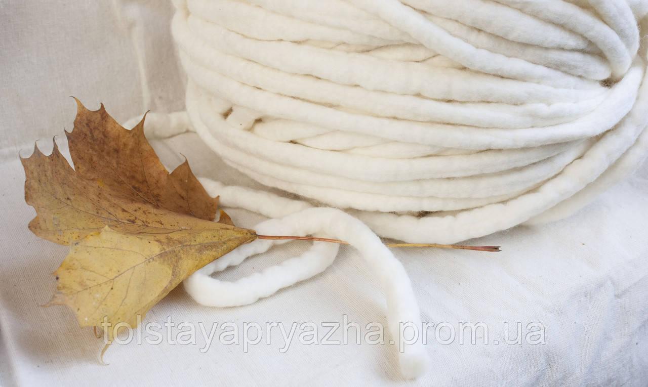 Толстая пряжа ручного прядения Elina Tolina 100% шерсть (обработана) белый