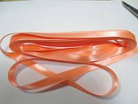 Стрічка атласна  двостороння 1 см. (10 метрів) абрикосовий яскравий