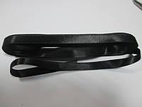 Стрічка атласна  двостороння 1 см. (10 метрів) чорна. Лента атласная двухсторонняя