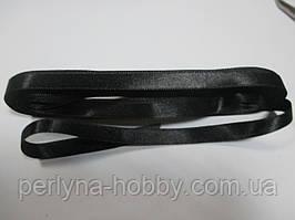 Стрічка атласна  двостороння 1 см. (10 метрів) чорна