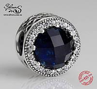"""Серебряная подвеска-шарм Пандора (Pandora) """"Полуночные синие сияющие сердца"""" для браслета"""