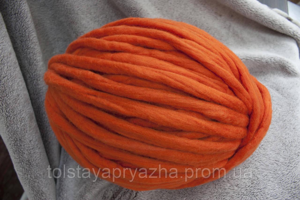 Толстая пряжа ручного прядения Elina Tolina  100100% шерсть (обработана), оранж