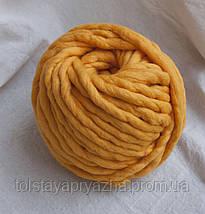 Толстая пряжа ручного прядения Elina Tolina 100% шерсть (обработана), канарейка, фото 2