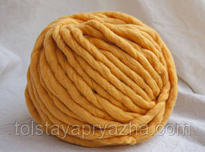Товста пряжа ручного прядіння Elina Tolina 100% вовна (оброблена), канарка, фото 3