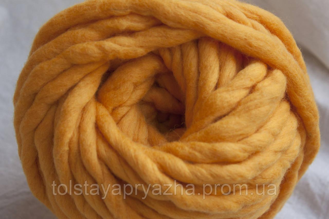 Товста пряжа ручного прядіння Elina Tolina 100% вовна (оброблена), канарка
