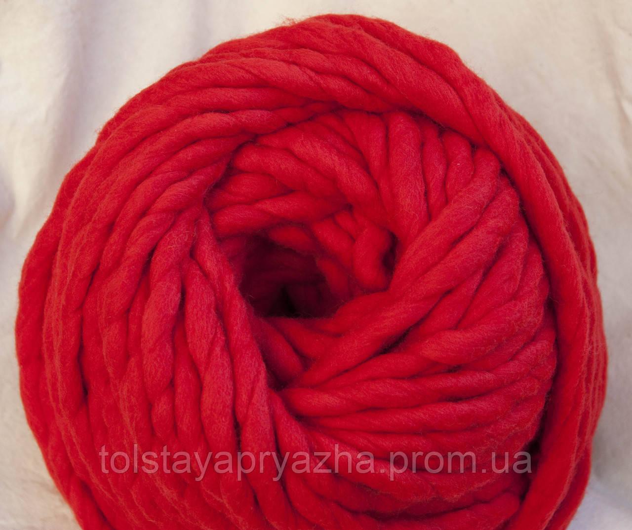 Товста пряжа ручного прядіння Elina Tolina 100% вовна (оброблена) червоний