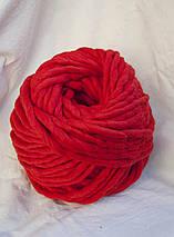 Товста пряжа ручного прядіння Elina Tolina 100% вовна (оброблена) червоний, фото 2