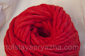 Товста пряжа ручного прядіння Elina Tolina 100% вовна (оброблена) червоний, фото 3