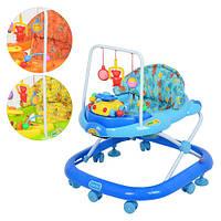 Ходунки для малышей JS 322, 3 цвета, стопоры 2шт,дуга с подвесками, муз(12мел), звуки животн, свет