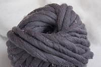 Толстая пряжа ручного прядения 100% шерсть (обработана), сталь