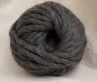 Толстая пряжа ручного прядения 100% шерсть (обработана), черный меланж