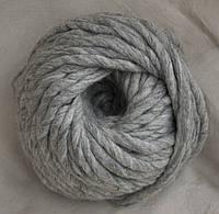 Толстая пряжа ручного прядения 100% шерсть (обработана), серый меланж