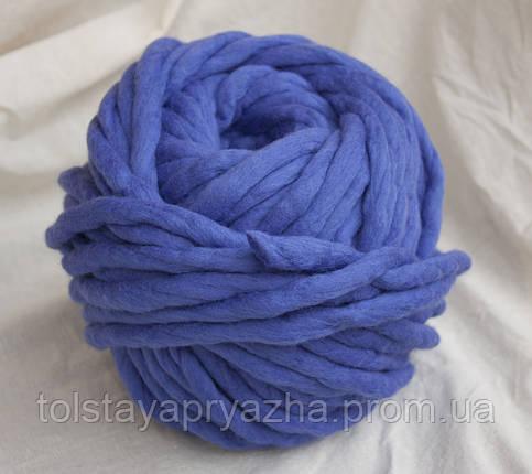 Толстая пряжа ручного прядения Elina Tolina  100% шерсть (обработана) ультрамарин, фото 2