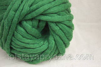 Товста пряжа ручного прядіння Elina Tolina, 100% вовна (оброблена) смарагд, фото 2