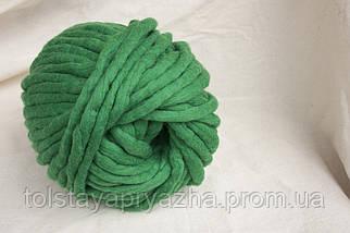 Товста пряжа ручного прядіння Elina Tolina, 100% вовна (оброблена) смарагд, фото 3