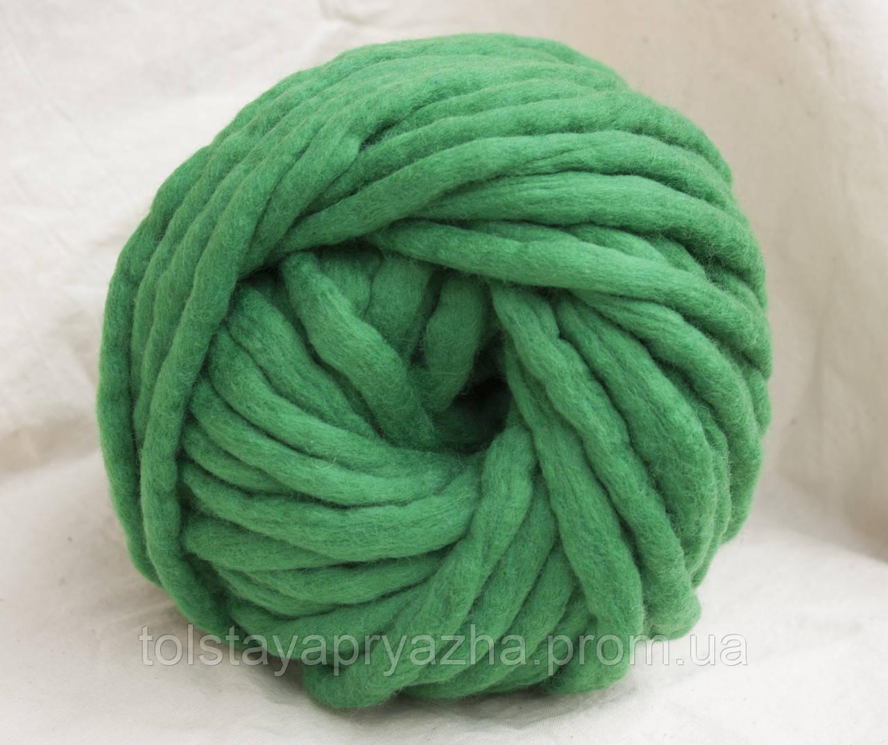 Товста пряжа ручного прядіння Elina Tolina, 100% вовна (оброблена) смарагд