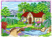 Канва с рисунком Домик у реки