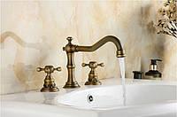 Смеситель кран двухвентильный бронза для ванной комнаты, фото 1