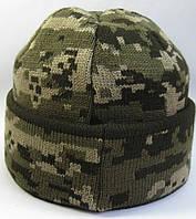 №2 -  Вязаная шапка вязаная пиксель с под воротом флисом на всю голову