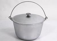 Казан походный алюминиевый литой с крышкой и дужкой