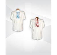 Белая мужская вышиванка с коротким рукавом, интерлок, р.р.42-60