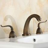 Смеситель для умывальника кран двухвентильный для ванной, фото 2