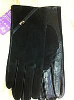 Перчатки женские из кожи и замши подкладка плюш