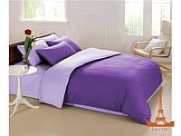 Постельное белье Love you полисатин двухспальное Евро цвет фиолетовый + сиреневый, 200*220 см, 6 предметов