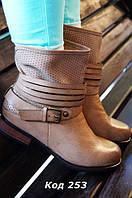 Ботинки женские беж (хаки) ковбойки. Польша