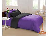 Постельное белье Love you полисатин двухспальное Евро цвет фиолетовый + черный, 200*220 см, 6 предметов