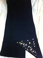 Чёрный вязаный шарф украшенный камнями