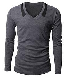 Пуловер чоловічий з трикотажної тканини сірий