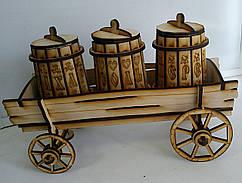 Деревянный набор для специй на телеге Соль Перец