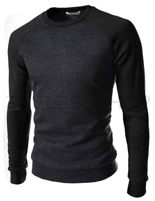 Світшот чоловічий сірий з чорними рукавами