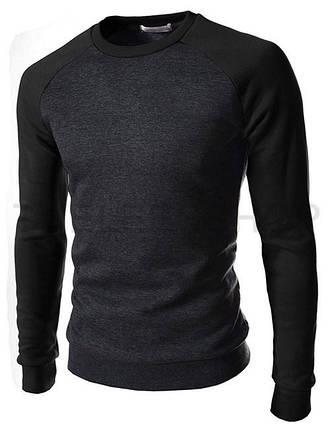 Світшот чоловічий сірий з чорними рукавами, фото 2
