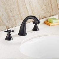 Смеситель кран двухвентильный черный для ванной комнаты