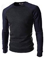 Свитшот мужской серый с синими рукавами
